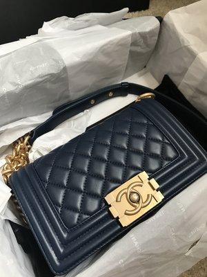 CHANEL boy bag 20cm lambskin