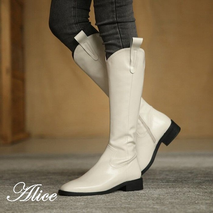 『Alice❤愛麗絲』冬季新款平底顯瘦長筒靴女不過膝靴及膝靴真皮高筒靴女騎士靴