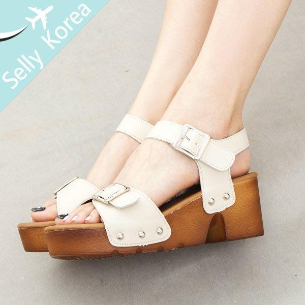 涼鞋 正韓 楔型鞋 厚底鞋 魔鬼沾 皮帶釦-Selly-沙粒-(KR106)2色