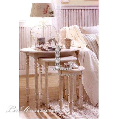 【Creative Home】Cottage Chic 法式田園系列白色仿古實木高低三桌組