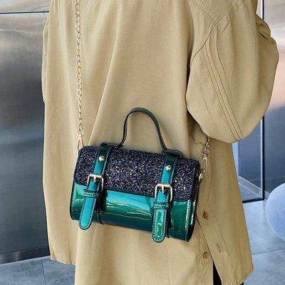 潮流小方包 洋氣小包包女2019新款潮ins超火波士頓手提包漆皮鏈條單肩斜挎包