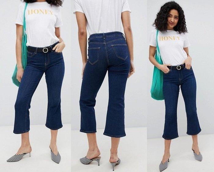 ◎美國代買◎ASOS代買喇叭褲口藍刷色復古甜心英倫時尚高腰七分喇叭牛仔褲~歐美街風~大尺碼