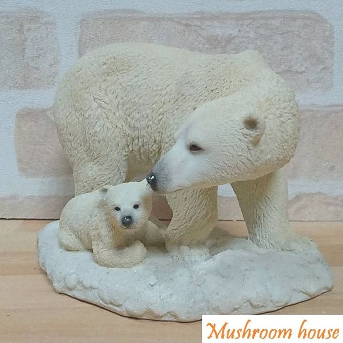 點點蘑菇屋 歐洲精品野生動物北極熊媽媽與小熊寶寶擺飾 可愛家飾 禮品 精緻飾品 鄉村風 動物園 現貨 免運費