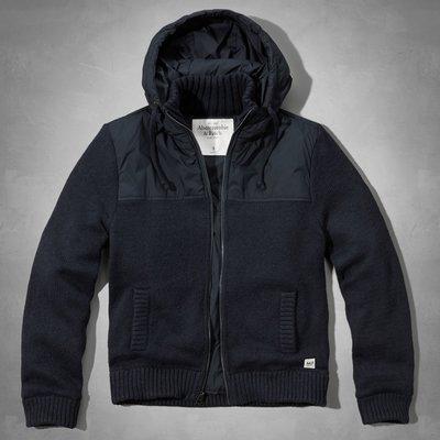 【天普小棧】A&F Big Slide Mountain Sweater Jacket連帽毛衣外套夾克深藍L號現貨抵台