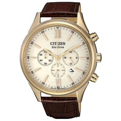 CITIZEN 光動能經典時尚皮帶男錶(CA4413-19A)-金殼咖啡色錶帶-送禮