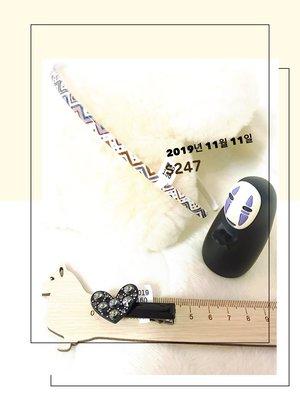 1111~ 妍選精品 全新品牌 Grain de BEaute 黑鑽心結短壓夾 與 幾何線條新款細髮箍