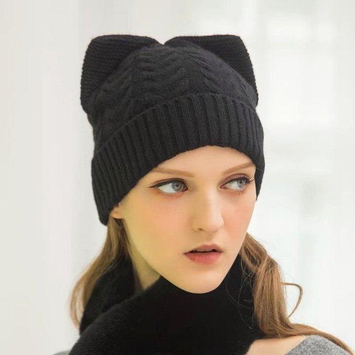 HAT 羊毛貓耳朵針織帽 毛線帽 黑色