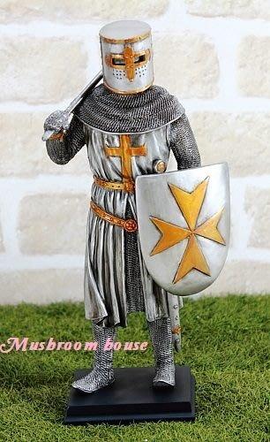 點點蘑菇屋{中古武士擺飾五}十字軍 鐵甲武士 全身盔甲拿斧頭 馬爾他徽章 羅馬武士 免運