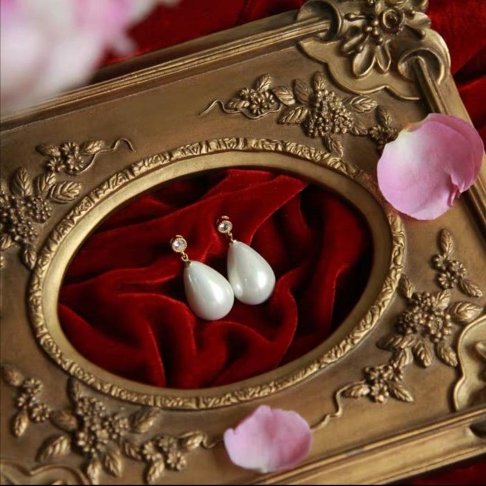 淡水珍珠925銀針復古古典耳環