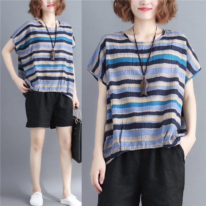 棉麻上衣 氣質棉麻上衣文藝范圓領條紋寬鬆百搭大碼女裝短袖T恤衫