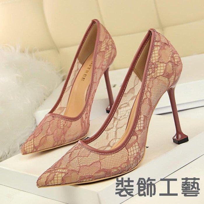 17175-11時尚性感夜店蕾絲鏤空網狀顯瘦淺口尖頭高跟女單鞋