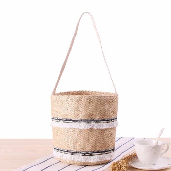 店長推薦單肩手拎兩用草編包 甜美花邊流蘇夏日度假沙灘包 編織水桶 編織包 側背包 斜背包 出行必備