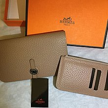 Hermes Togo beige leather wallet. Brand new in box