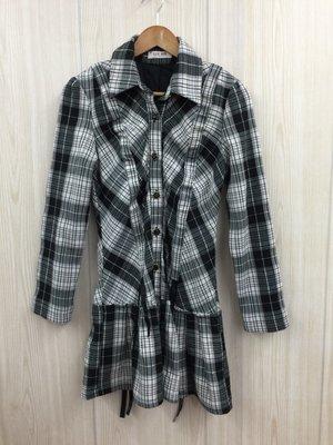 【愛莎&嵐】LEE MIN 女 黑色格紋洋裝 1080116