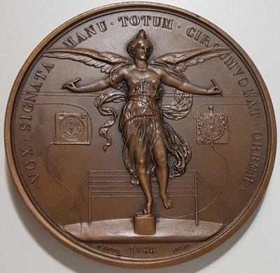 法國銅章1866 France Napoleon III Electronic Telegraph Medal