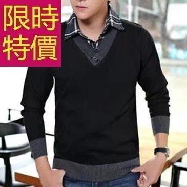 假兩件式襯衫 羊毛時髦-時尚風靡長袖男毛衣3色59ac26[韓國進口][米蘭精品]