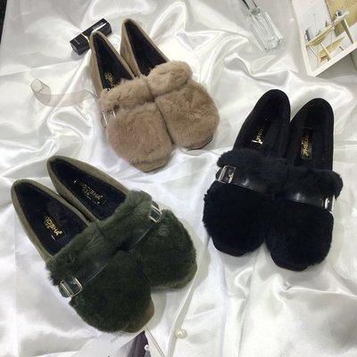 韓版秋冬季加絨圓頭絨面皮帶扣單鞋女平底平跟毛毛鞋保暖棉瓢女鞋