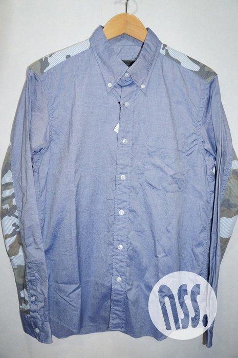 特價「NSS』SOPHNET SOPH CAMOUFLAGE PANEL B.D SHIRT 迷彩 長袖 襯衫 藍 M