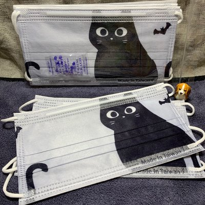 現貨德泰🌈黑貓🌈成人平面口罩(10入)
