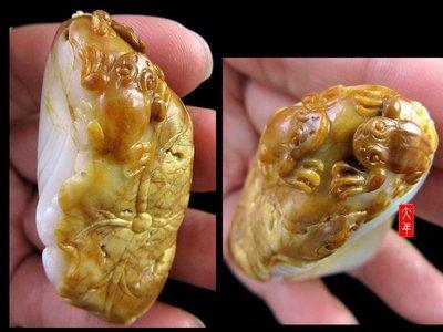 (大特價)超漂亮的金皮,巧雕荷塘青蛙~...