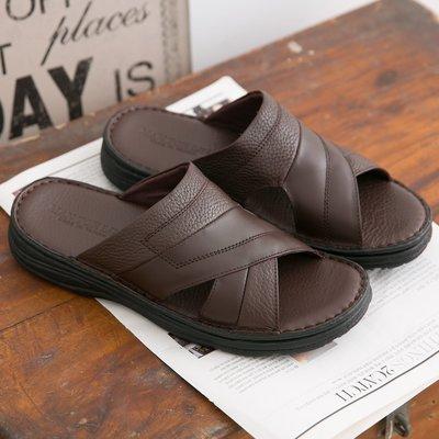 Ovan 男款 荔枝紋牛皮 休閒氣墊拖鞋 台灣製造真皮拖鞋 MIT 大小尺碼