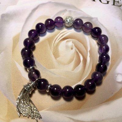 925純銀飾品天然紫水晶手環~增智慧保平安手環~六字箴言轉運珠~心願925