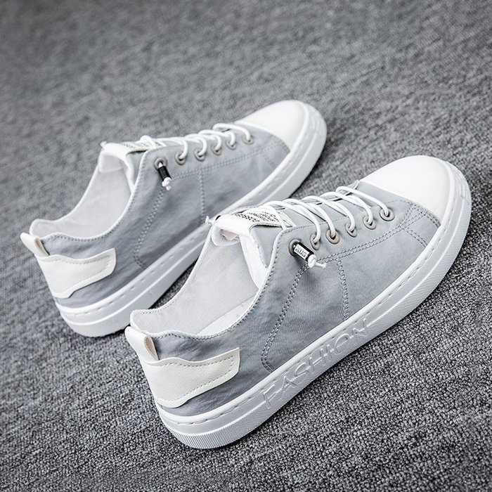 6Du spot~潮牌2020新款夏季透氣薄款一腳蹬帆布男鞋百搭休閑潮鞋夏天小白鞋
