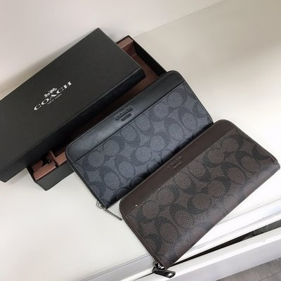 美國代購COACH 75000 新款pvc防刮男士拉鍊長夾 錢包 手拿包 男夾