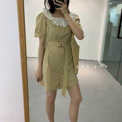 visa正韓專屬女裝SZE-SANLEE 收腰顯瘦蕾絲荷葉邊方領系腰帶連身裙2021夏款