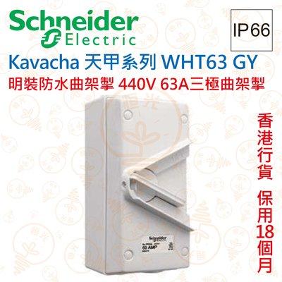 Schneider Kavacha 天甲 440V 63A三極曲架掣 IP66 WHT63 GY 香港行貨 保用18個月