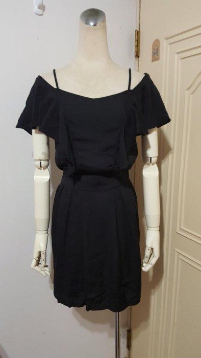 MISS O專櫃品牌黑色滾荷葉露肩彈性腰圍棉質小洋裝(適S~M)*390元直購價*