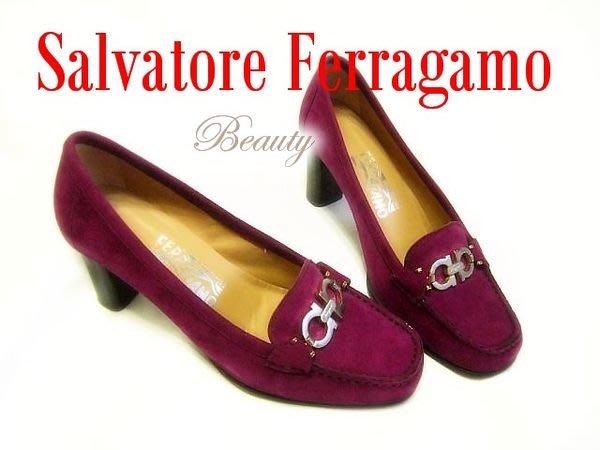 *Beauty*Salvatore Ferragamo紫紅色麂皮中跟包鞋 6.5號 CR
