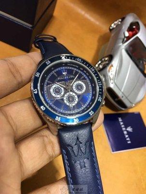 請支持正貨,瑪莎拉蒂手錶MASERATI手錶STILE款,編號:R8851101002,深藍色錶面深藍色皮革錶帶款