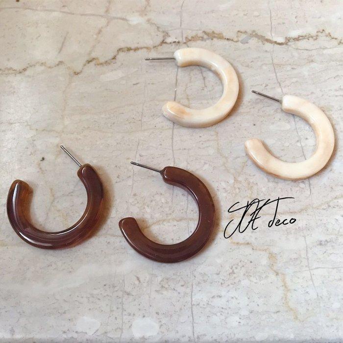 JOE deco💐琥珀色開口圈圈耳環 兩色售