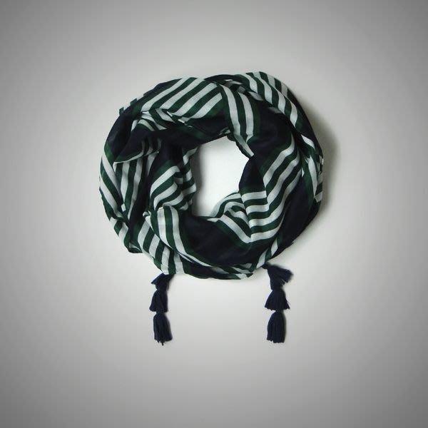 【Abercrombie&Fitch】【A&F】AF女款薄紗絲巾藍粗綠白細條 F06140103-25-F