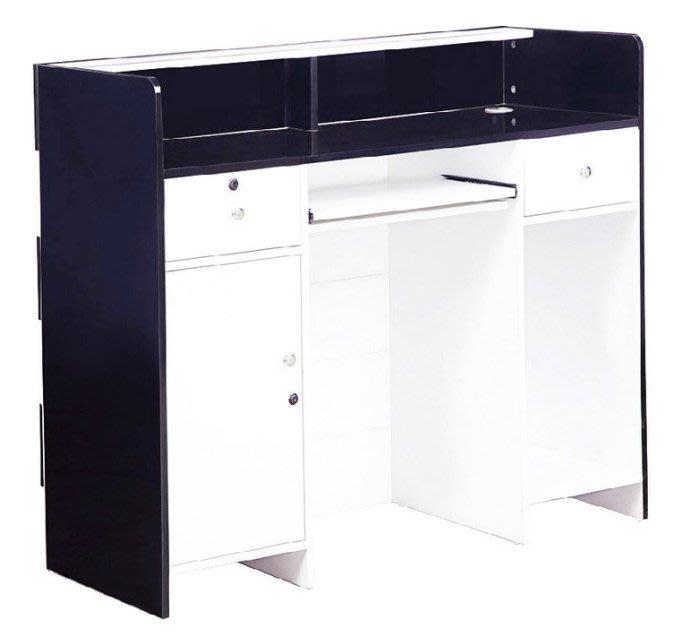 【DH】商品貨號N892-2商品名稱 《實上》四尺黑/白色多功能桌,可作收銀檯,接待櫃台。主要地區免,代客泊車接待櫃