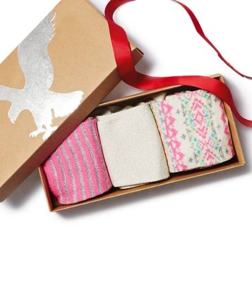 (BJGO) AMERICAN EAGLE_女裝_AEO Socks Gift Set 甜美閃閃金蔥襪子三入組禮盒/禮物現貨