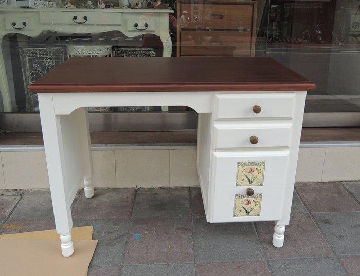 歐式鄉村風化妝桌 雙色歐式書桌 高抽屜可收納化妝瓶罐 白色書桌 白色電腦桌 歐式化妝桌 白色化妝桌 梳妝桌 實木化妝桌