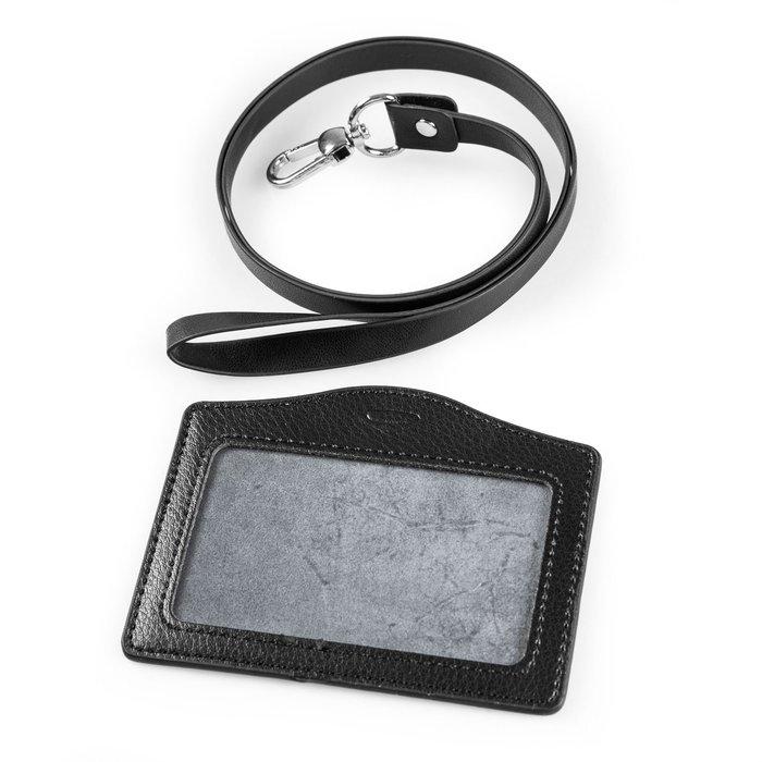 單層真皮橫式證件卡套+仿皮掛繩 - 荔枝紋黑色 ZA-49967