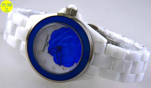 (六四三精品)范侖鐵諾(真品)錶徑3.8公分..高檔真陶瓷.藍寶石水晶鏡面.花面.精準錶.