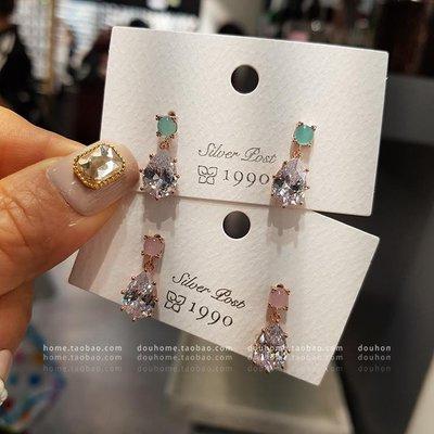匠心之作飾品韓國東大門進口2090耳飾品氣質水滴耳墜超仙貓眼石S925銀針耳釘女