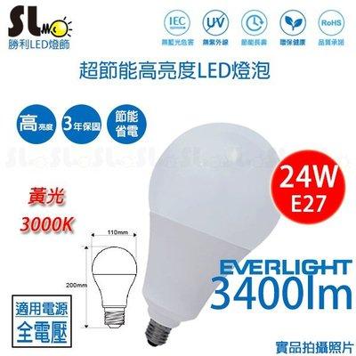 ღ勝利燈飾ღE27 LED 24W 億光 高亮度 高光效 燈泡 球泡 天井燈 標章認證 3500lm 三年保固