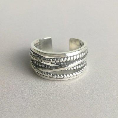 【超特價】戒指麻花S925定制復古做舊開口指環日韓版女個性多層纏繞韓版