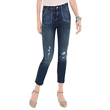 春款深藍色破洞水洗牛仔褲女顯瘦九分褲小直筒褲