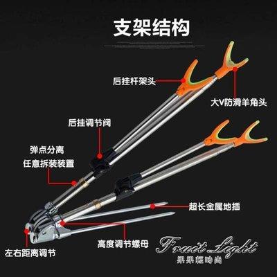 釣魚竿 2.1米不銹鋼雙炮台支架釣魚竿支架雙頭支架竿架桿架台釣支架地插GGQS19333