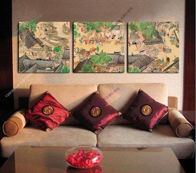 【50*50cm】【厚2.5cm】清明上河圖-無框畫裝飾畫版畫客廳簡約家居餐廳臥室【280101_450】(1套價格)