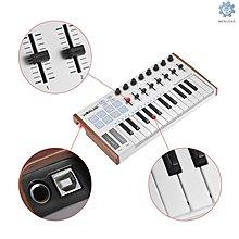 WORLDE TUNA MINI 25鍵MIDI鍵盤控制器8個彩色背光打擊墊帶標準踏板接口茶顏悅色f2s2d22333