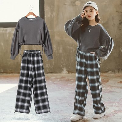 【TF3021】✿寶貝花園✿ 2021春秋新品 女童 中大童 寬鬆短款上衣+格子休閒長褲 二件套 套裝