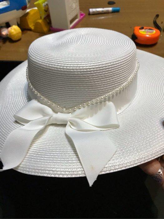 白色造型帽 新品無吊牌 帽圍57cm