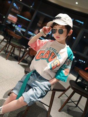 男大童 思家良品 2020/3/30夏裝新品115-160公分 韓版 男童 拼色寬鬆 短袖T恤 白色 橘色
